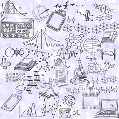 Science seamless pattern with sketch elements. Vector background with decorative formulas and graphs. Hand drawn.