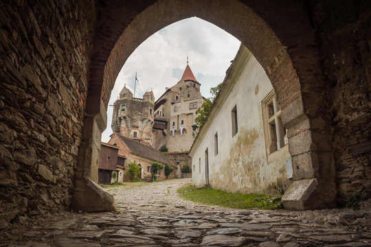 Pernstein Castle, the courtyard of gothic and renaissance castle in Czech Republic