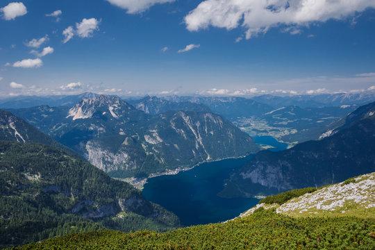 Top view of the mountains in Austria, Hallstatt