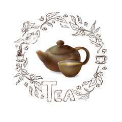 Vector 3d illustration of a tea in brown ware. Clay teapot and cup of hot tea on a white background. Hand drawn frame of the tea leaves and flowers. Caption tea