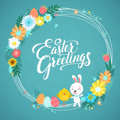 Happy Easter Calligraphy Greeting Card. Modern Brush Lettering and Floral Wreaths. Joyful wishes, holiday greetings. Pastel background.