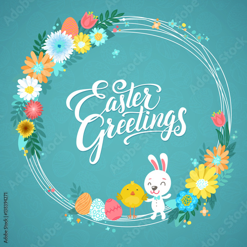 Happy easter calligraphy greeting card modern brush lettering and happy easter calligraphy greeting card modern brush lettering and floral wreaths joyful wishes m4hsunfo