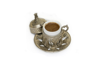 Turkish coffee with metal craft cover