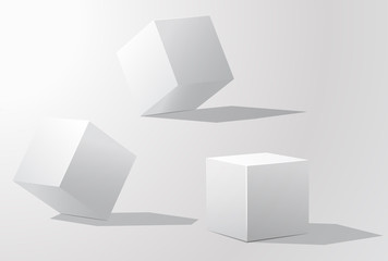 Set of white cubes in different projections
