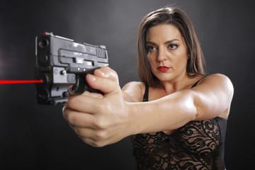 Brunette armed with handgun