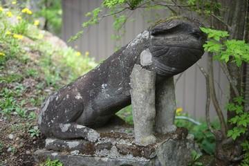 Japanese stone-carved guardian dog, Komainu