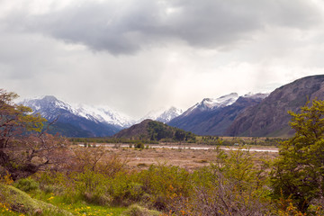 Landscape with a mountains. Cloudy sky. Argentina, Patagonia.