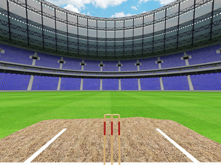 3D render of a round cricket stadium with blue seats and VIP boxes