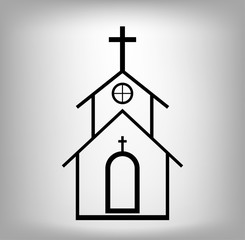 Vector church Icon with cross. Illustration eps 10.