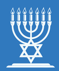 The most important symbol in the religion of Judaism - the Menorah, blue background, vector