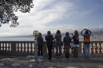 Tourists enjoying the view of Nice