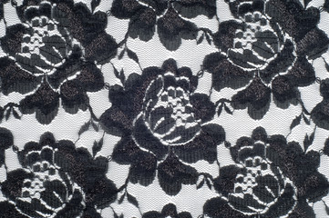 Lace on black and white fabric