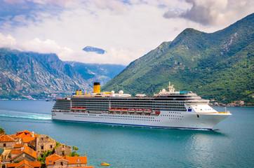 Printed roller blinds Mediterranean Europe Beautiful mediterranean landscape. Cruise ship near town Perast, Kotor bay (Boka Kotorska), Montenegro.