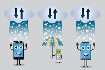 old phone and new smart phones with cloud computing vector illustration design