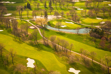 bare, spring trees throw shadows on a golf course near Chicago, Illinois