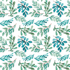 Watercolor Green And Light Blue Foliage Seamless Pattern