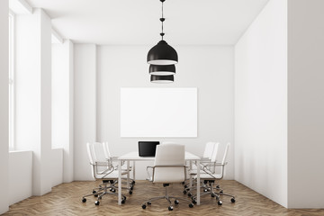 White meeting room with lamps