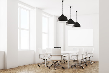 White meeting room with lamps, side