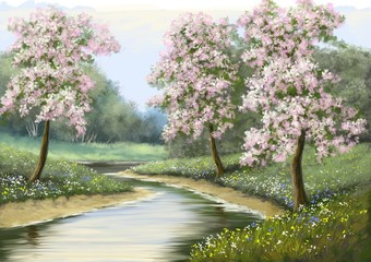 Spring,flower,river, paintings