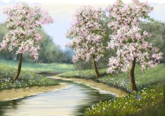 Spring,flower,river, paintings