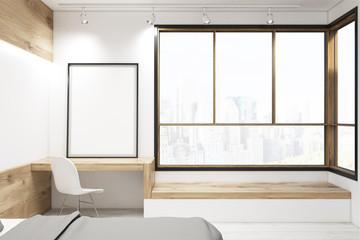 Bedroom with framed poster