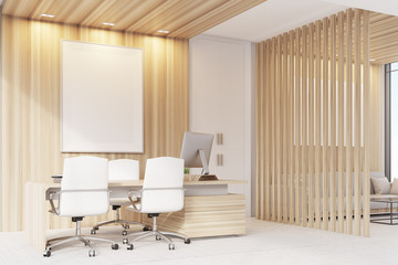 Elegant CEO room interior, poster, side view