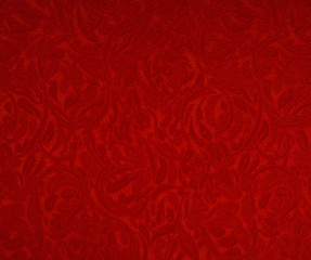 The texture of the silk fabric, red