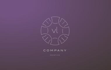vl v l monogram floral line art flower letter company logo icon design