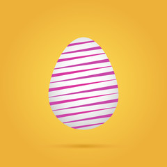 Linear colored easter egg on yellow background. Vector illustration.