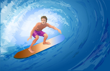 Athlete surfer on a big blue wave.