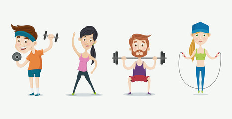 Men and women exercising. Fitness people training