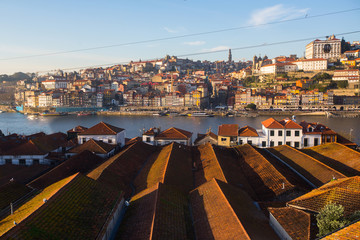 Top view of Douro river and old Porto downtown, Portugal.