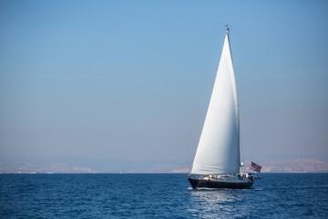 American sailing yacht boat at the Sea.