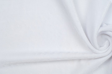 texture of velor fabric; background. white
