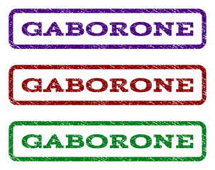 Gaborone watermark stamp. Text caption inside rounded rectangle with grunge design style. Vector variants are indigo blue, red, green ink colors. Rubber seal stamp with dust texture.