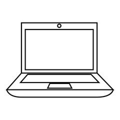 monochrome contour with laptop computer vector illustration