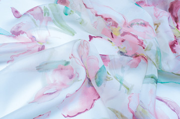 Fabric silk texture, painted with flowers