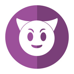 devil emoticon funny shadow vector illustration eps 10