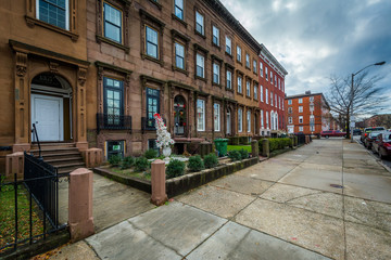 Rowhouses at Franklin Square, in Baltimore, Maryland.