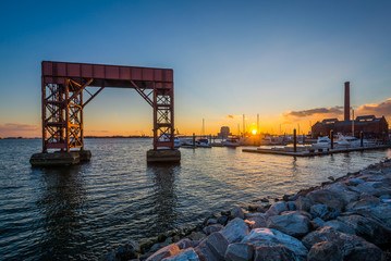 Sunset at Canton Waterfront Park, in Baltimore, Maryland.