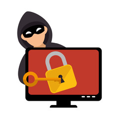 color silhouette with hacker and lcd monitor with padlock vector illustration