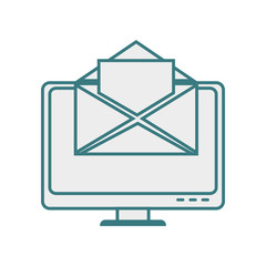 monochrome contour with lcd monitor and envelope mail on screen vector illustration