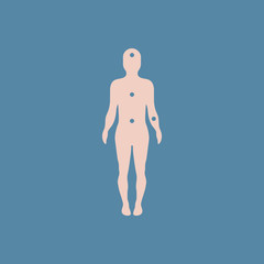 Patients point on the human body, various symptoms of leukemia on the human, pain points