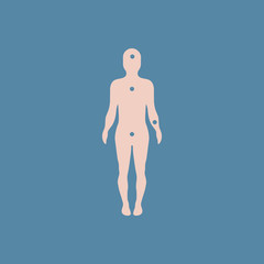 Patients point on the human body, various symptoms of leukemia on the human