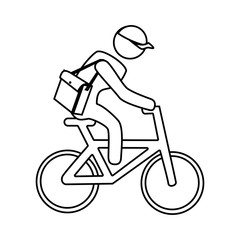 monochrome contour with messenger in bike vector illustration