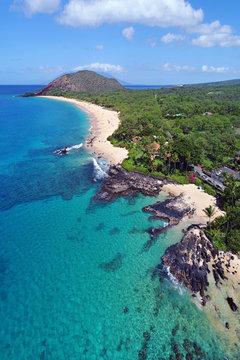 Aerial View - Big Beach (Makena Beach) & Secret Beach (Paako Cove) - Island of Maui, Hawaii