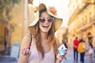 Eating a tasty ice cream