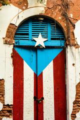 Puerto Rico Flag Painted Door