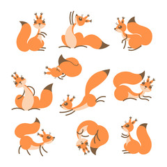 Cartoon cute squirrel. Little funny squirrels. Vector illustration
