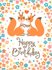 Happy Birthday card with cute squirrels kissing in a cartoon style.